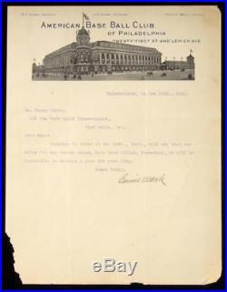 1912 Connie Mack Signed Letter on Philadelphia A's Letterhead LOA from JSA