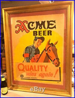 1930's Jockey/Thoroughbred Race Horse Acme Cardboard Beer Sign San Francisco