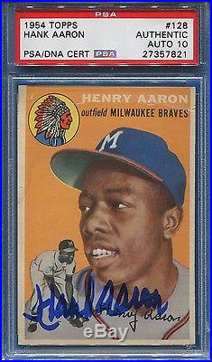 1954 Topps #128 Hank Aaron Signed Rookie Card Psa 10 Gem Mint Autograph