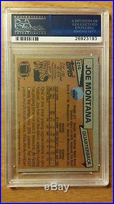 1981 Topps #216 Joe Montana RC Rookie HOF Signed AUTO PSA/DNA with inscription