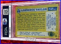 1982 Topps Lawrence Taylor Rc Rookie Auto Signed Autographed #434 Psa Dna 10