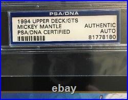 1994 Upper Deck Salutes Mickey Mantle SIGNED Card Mint Auto PSA COA LE Hof