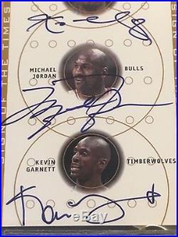 2001-02 SP Authentic Sign Of The Time Triple Auto Michael Jordan Kobe Garnett