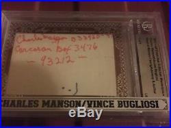2012 Leaf Executive Vince Bugliosi/Charles Manson Dual Cut Signed Auto 1/1