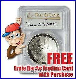 2014-P Baseball HOF Silver $1 - PCGS PR70 - Hand Signed By Ernie Banks