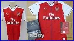 2016-17 Arsenal Home Shirt Squad Signed Official COA & Presentation Box (10190)