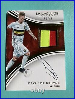 2017 Kevin De Bruyne Immaculate Patch Auto #50/65 Hard Signed read