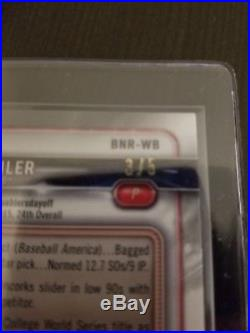 2018 Bowman Chrome Red Walker Buehler Auto National Exclusive #d 3/5 Signed Card