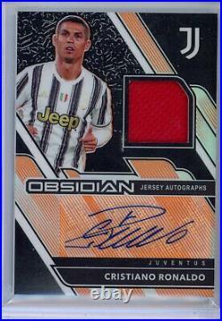 2020 21 Panini Obsidian Soccer Cristiano Ronaldo ORANGE JERSEY AUTO #6/10 signed