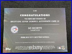 2020 Topps Inception Bo Bichette Silver Signings Auto Autograph 60/70