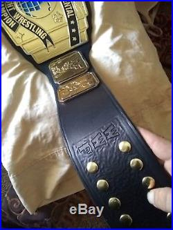 86/87 WWF Intercontinental championship belt ACCURATE leather signed by HTM