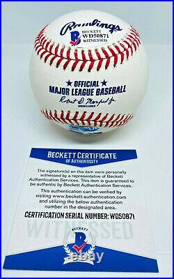 Albert Pujols NL MVP 05, 08, 09 Signed MLB Baseball Beckett BAS Witnessed COA