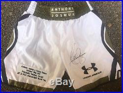 Anthony Joshua MBE Hand Signed Boxing Shorts IBF WBA IBO World Champion COA
