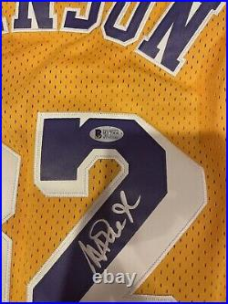 Autographed Magic Johnson Signed HOF 02 Inscription LA Lakers Jersey Beckett COA