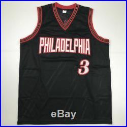 Autographed/Signed ALLEN IVERSON Philadelphia Black Basketball Jersey JSA COA