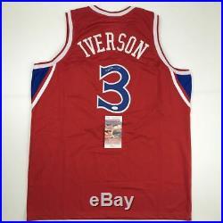 Autographed/Signed ALLEN IVERSON Philadelphia Red Basketball Jersey JSA COA Auto