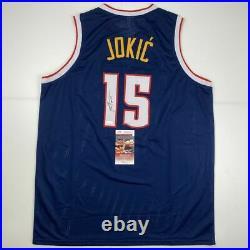 Autographed/Signed NIKOLA JOKIC Denver Dark Blue Basketball Jersey JSA COA Auto
