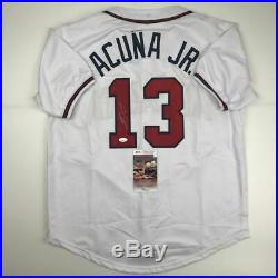 Autographed/Signed RONALD ACUNA JR. Atlanta White Baseball Jersey JSA COA Auto