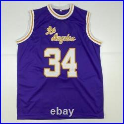Autographed/Signed SHAQUILLE SHAQ O'NEAL Los Angeles Purple Jersey JSA COA Auto