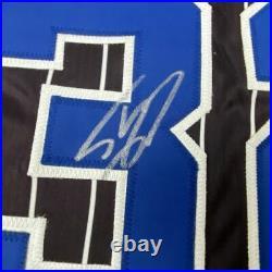 Autographed/Signed SHAQUILLE SHAQ O'NEAL Orlando Black Pinstripe Jersey JSA COA