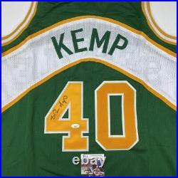 Autographed/Signed SHAWN KEMP Seattle Green Basketball Jersey JSA COA Auto