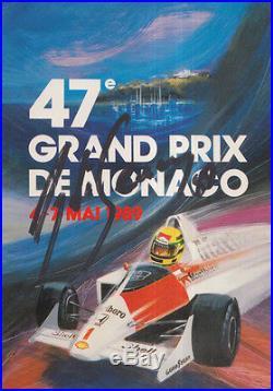 Ayrton Senna Hand Signed Monaco Postcard F1