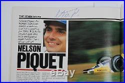 Ayrton Senna Nigel Mansell Michele Alboreto Nelson Piquet Signed magazine