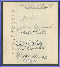 BABE RUTH PSA/DNA CERTIFIED AUTHENTIC SIGNED 1930's ALL-STARS AUTOGRAPH PAGE