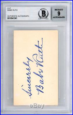 Babe Ruth Autographed Signed Blank Business Card Pristine 9 Beckett 10541341