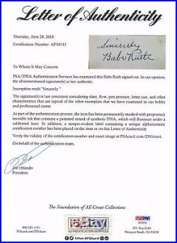 Babe Ruth Psa/dna Certified Authentic Signed Sheet Autographed Mint Yankees