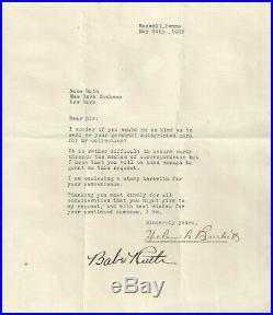 Babe Ruth Signed 1932 Letter Beckett Grade 10 Gem Mint Certified Autograph (bas)