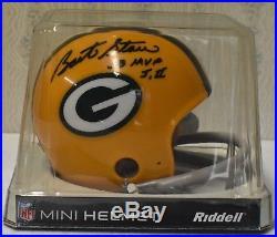 Bart Starr signed Riddell mini helmet, Green Bay Packers