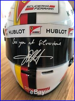 Bell Racing Ferrari 12 Mini F1 Helmet Sebastian Vettel 2017 Print Signed