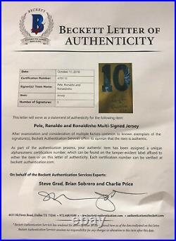 Brazil Ronaldinho, Ronaldo and Pele Signed Soccer Jersey Auto Becket BAS LOA