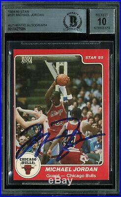 Bulls Michael Jordan Signed 1985 Star #101 RC Auto Graded 10! Card BAS Slabbed
