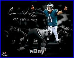 Carson Wentz Philadelphia Eagles Signed 11x14 Photo with Fly Eagles Fly Insc