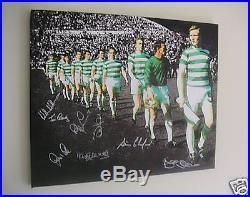 Celtic 1967 Lisbon Lions European Cup Canvas signed x8 Auld McNeil Wallace Craig
