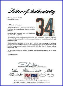 Chicago Bears Walter Payton Signed Jersey Stat Inscriptions Full Letter PSA Auto