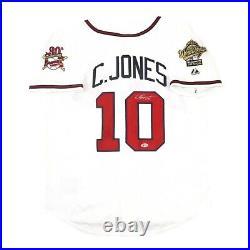 Chipper Jones signed Atlanta Braves 1995 World Series Home White Jersey Beckett