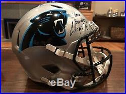 Christian McCaffrey Signed Carolina Panthers Full Size Helmet Witness Beckett