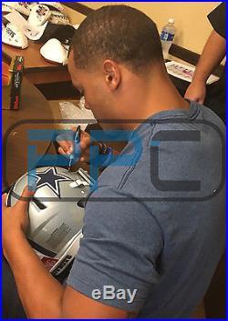 Cowboys Dak Prescott Authentic Signed Full Size White Rep Helmet JSA Witness