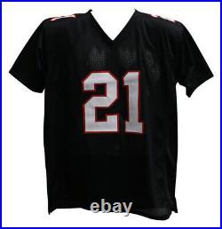Deion Sanders Autographed/Signed Pro Style Black XL Jersey BAS 28187