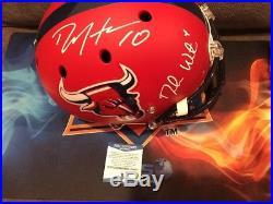 Deshaun Watson & DeAndre Hopkins dual signed Texans Full Size Helmet Beckett COA