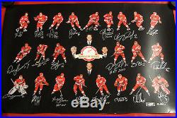 Detroit Red Wings Signed 24x36 Lithograph 22 Autos Hof Yzerman Lidstrom Shanahan