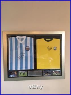 Diego Maradona & Pele Dual Framed Signed Shirts