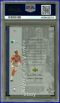 Dirk Nowitzki Card 1999-00 Sp Authentic Sign Of The Times #DN PSA 9