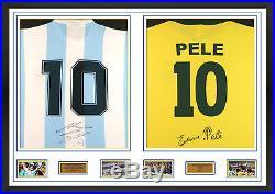 Double back signed Shirts Maradona & Pele framed display AFTAL COA