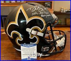 Drew Brees Signed New Orleans Saints AMP Full Size Helmet Passing Leader Beckett