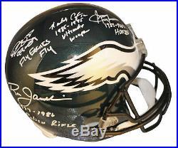 Eagles QBs (4) McNabb, Cunningham, Jaworski Signed Full Size Rep Helmet BAS