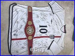 England XXXXL Shirt Signed Beckham Rooney Gerrard Shearer Terry Hurst Lineker
